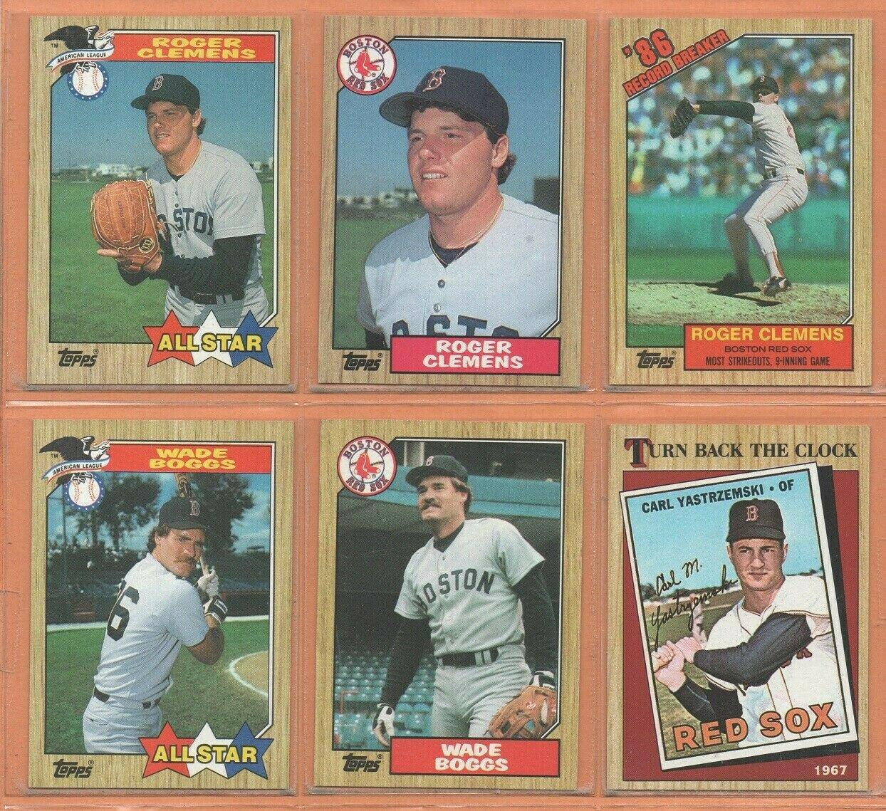 1987 Topps Boston Red Sox Team Lot 30 diff Roger Clemens Wade Boggs Carl Yastrzemski