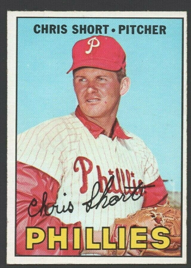 Philadelphia Phillies Chris Short 1967 Topps Baseball Card 395 ex mt