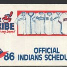 1986 Cleveland Indians Pocket Schedule Chief Wahoo WWWE Radio 11 This Is My Team