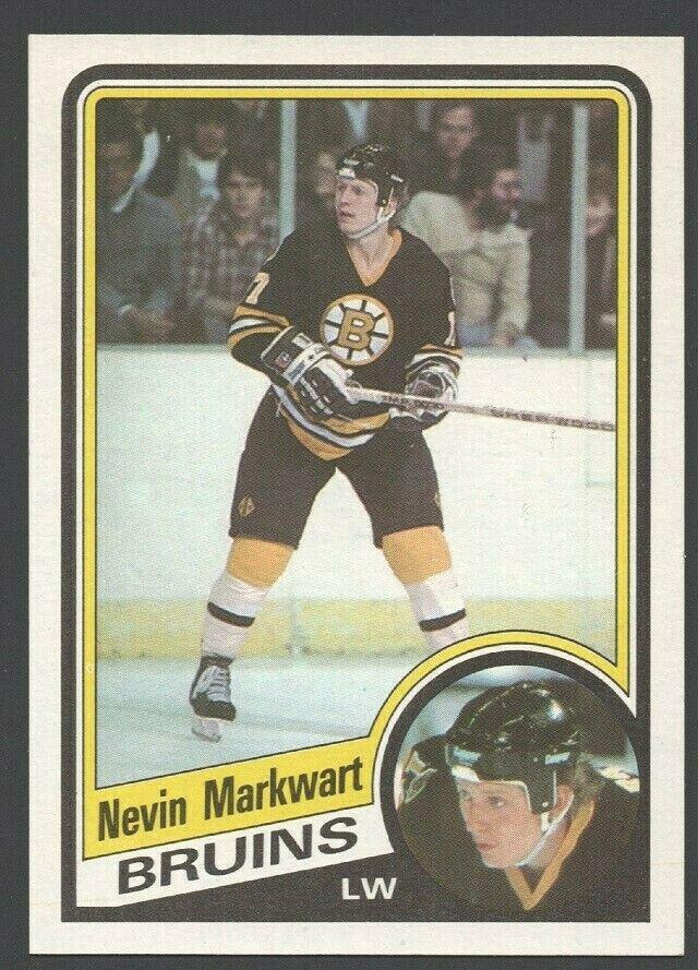 Boston Bruins Nevin Markwart Rookie Card RC 1984 Topps Hockey Card 7 nr mt