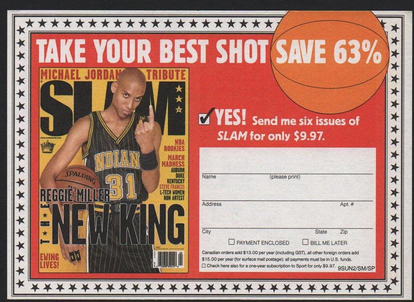 Indiana Pacers Reggie Miller 1999 Slam Magazine Advertising Coupon