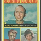 AFC Scoring Leaders Dolphins Chiefs Colts 1972 Topps Footbal Card 7 vg/ex