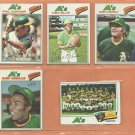 1977 Topps Oakland Athletics Team Lot 21 Vida Blue Ron Fairly Phil Garner Mike Torrez Bill North