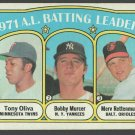 1972 Topps Baseball Card #86 Batting Leaders New York Yankees Twins Orioles vg