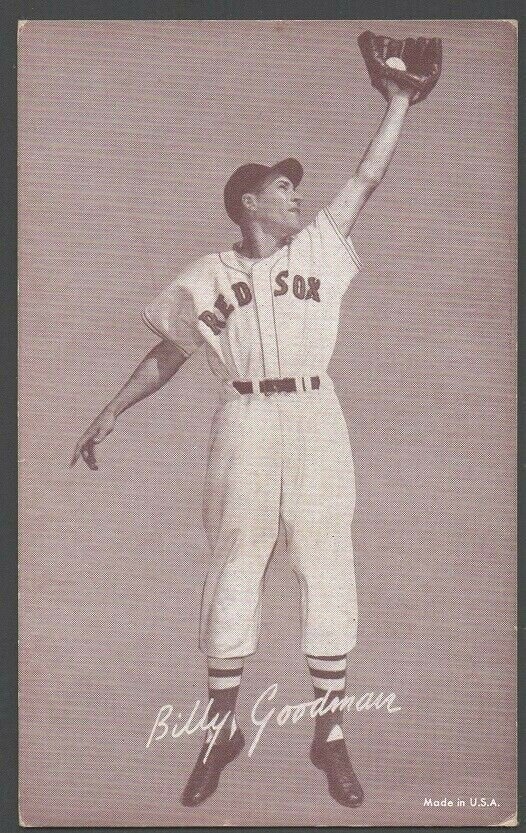 BOSTON RED SOX BILLY GOODMAN FIELDING POSE 1947 � 1966 EXHIBIT SUPPLY CARD
