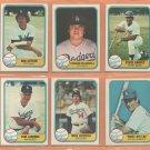 1981 Fleer Los Angeles Dodgers Team Lot 33 diff Fernando Valenzuela RC Mike Sciocia RC Don Sutton
