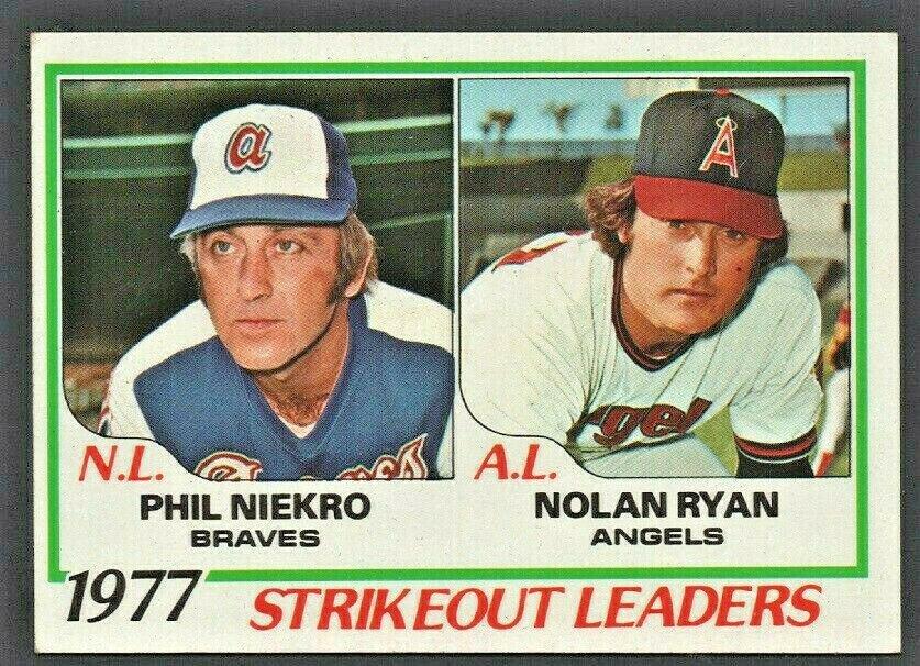 STRIKEOUT LEADERS CALIFORNIA ANGELS NOLAN RYAN ATLANTA BRAVES PHIL NIEKRO 1978 TOPPS # 206 EX+