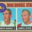 1968 Topps Baseball Card  199 Oakland Athletics Rookie Stars Roberto Rodriguez Darrell Osteen
