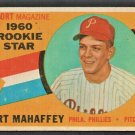 1960 Topps Baseball Card # 138 Philadelphia Phillies Art Mahaffey Sport Magazine Rookie Star