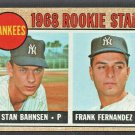 1968 Topps  Baseball Card # 214 New York Yankees Rookie Stars Stan Bahnsen Frank Fernandez