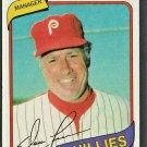 1980 Topps Burger King Baseball Card 1 Philadelphia Phillies Dallas Green nr mt