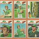 1977 Topps Oakland Athletics Team Lot 20 Vida Blue Bill North Ron Fairly Jeff Newman RC