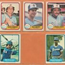 1981 1982 Fleer Atlanta Braves 5 card Lot Dale Murphy Bruce Benedict Claudell Washington