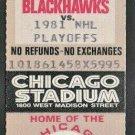 1981 Chicago Blackhawks Unused Stanley Cup Ticket Chicago Stadium