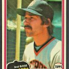 Detroit Tigers Tom Brookens 1981 Topps Baseball Card # 251 nr mt