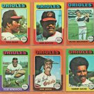 1975 Topps Baltimore Orioles Team Set Lot 15 Bob Grich Don Baylor Paul Blair