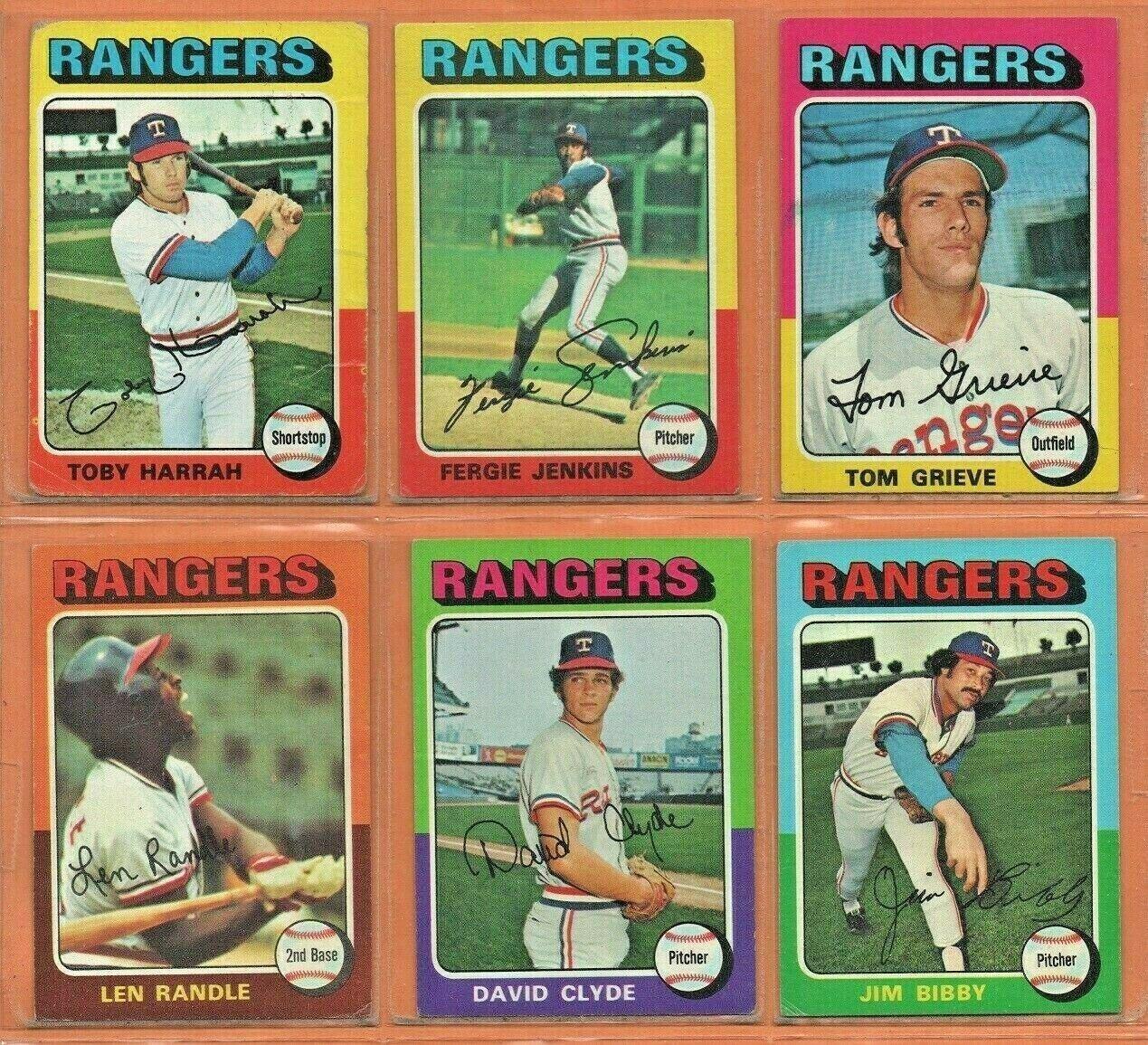 1975 Topps Texas Rangers Team Lot Team Set Fergie Jenkins Toby Harrah Tom Grieve