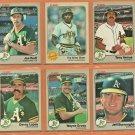 1983 Fleer Oakland Athletics Team Lot Team Set 19 Rickey Henderson Joe Rudi Tony Armas