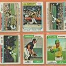 1974 Topps Oakland Athletics Team Lot Set Reggie Jackson Sal Bando Bert Campaneris
