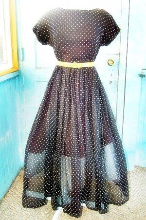 Utterly Stunning 1950s Black and White Polka Dotted Full Skirt Party Dress Medium or Small