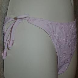 NWT Daffy Light Pink Side Tie Bikini Bottom Large