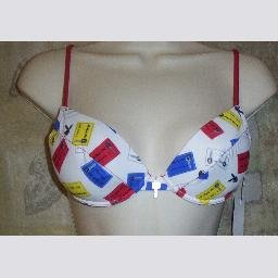 NWT Playboy White Printed Underwire Bikini Swim Top M