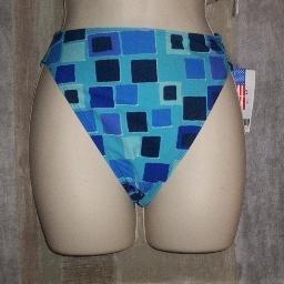 NWT Chica Rica Sq Pattern High Waist Bikini Bottom S