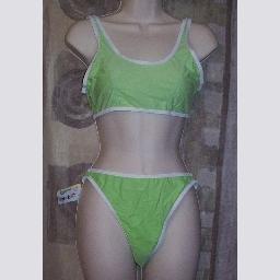 NWT Delfina Green & White Sport Bikini Swimwuit L
