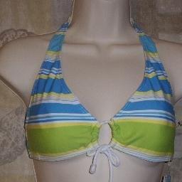 NWT Surfside Striped Aqua Halter Bikini Top Swim Top L