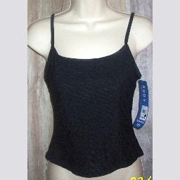 NWT Body ID Black Textured Tankini Swim Bikini Top  7  8