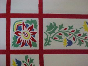 Vintage Wilendur Tablecloth Red Floral Provencial