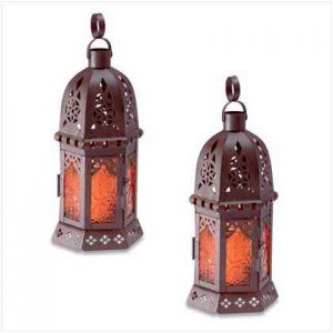 Amber Glass Lantern Pair