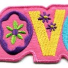 Love peace boho hippie flower power retro weed applique iron-on patch S-38