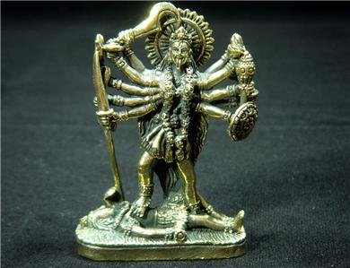 "Hindu devi Kali dark goddess brass figurine statue new 1.75 X 2.5"" C-46 FREE WORLDWIDE DELIVERY!"