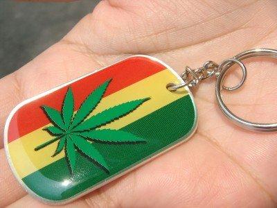 Ganja marijuana leaf flag of Judah keyring keychain new