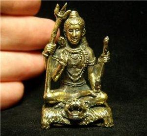 "Hindu god Shiva hinduism india yoga trance brass figurine statue new 1.25"" X 2.11"""