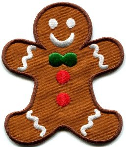Gingerbread Man cookie kids fun sweets buscuit applique iron-on patch S-239