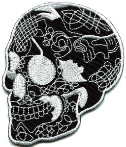 Skull tattoo horror biker goth emo punk rock metal applique iron-on patch S-255