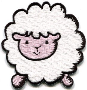 Sheep lamb ewe fun retro applique iron-on patch S-206
