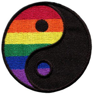 Yin Yang tao gay lesbian pride rainbow flag LGBT applique iron-on patch S-133