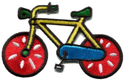 Bicycle retro bike cycle cyclist 70s kids fun applique iron-on patch S-125