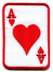 Ace of Clubs red playing cards retro biker rat pack applique iron-on patch S-12