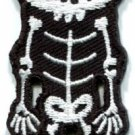 Skull skeleton goth emo horror splatter biker applique iron-on patch S-256