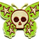 Butterfly skull horror goth emo punk biker applique iron-on patch S-184