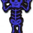 Skull skeleton goth punk emo horror biker sew applique iron-on patch S-452