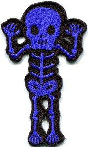 Skull skeleton goth punk emo horror biker sew applique iron-on patch S-452