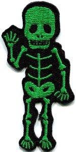 Skull skeleton goth horror psycho rock metal applique iron-on patch S-266