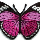 Butterfly pink hippie retro boho embroidered applique iron-on patch S-159