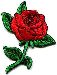 Rose tattoo biker retro boho love red applique iron-on patch  S-194