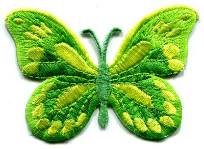 Butterfly green hippie retro boho embroidered applique iron-on patch S-167